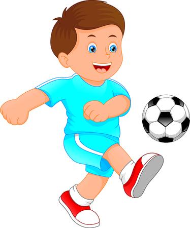 A cute little boy soccer player illustration.