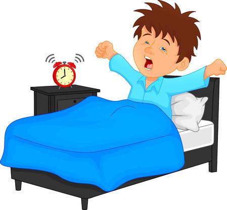 kleine jongen wakker worden in de ochtend Stock Illustratie