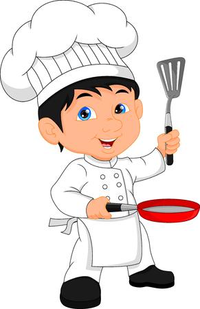 boy chef cartoon Vectores