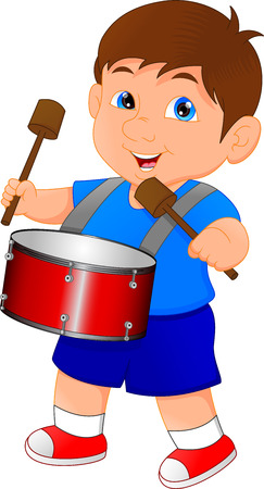 melodic: Boy marching with a drum