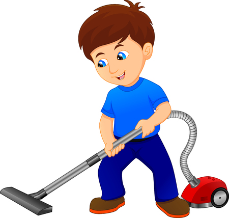 Boy Cleaning The Floor With Vacuum Cleaner Vettoriali