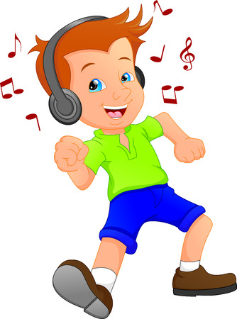 A funny cartoon boy listening to music and dancing.