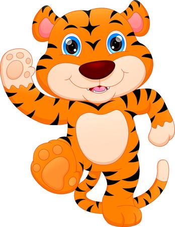 cute baby tiger cartoon Vector illustration.