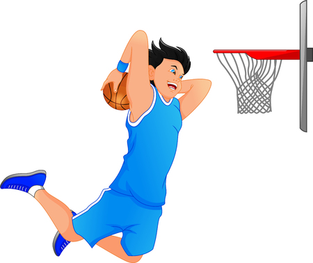Basketball player make slum dunk illustration.