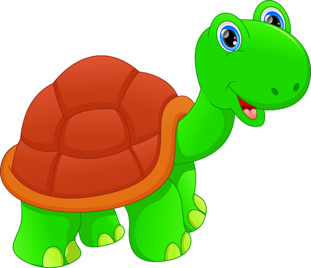 Cute green turtle cartoon illustration on white background.