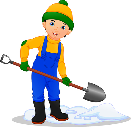 Boy removing the snow with the shovel illustration.