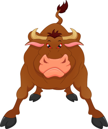 Angry bull cartoon illustration on white background.
