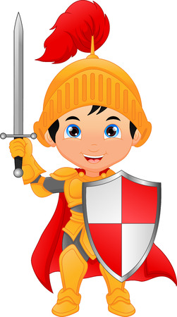 Cartoon knight boy illustration on white background. Иллюстрация