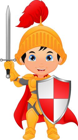 Cartoon knight boy illustration on white background. Vettoriali