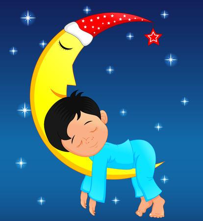 cute little boy sleeping on moon Vector illustration.