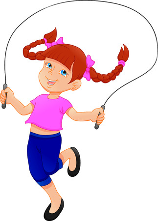 Little girl playing skipping rope Illustration