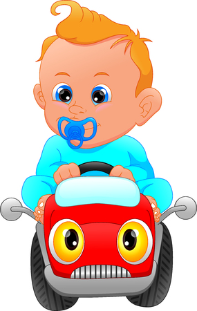 lindo bebé conduciendo coche de juguete
