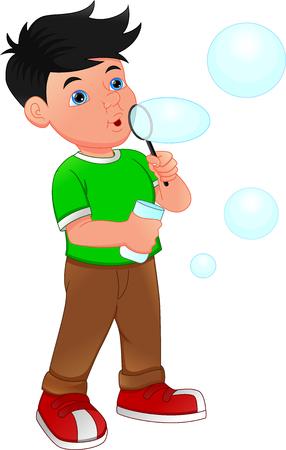 little Boy Blowing Bubble Toy