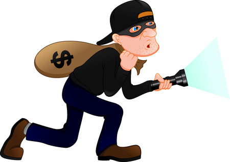 Thief carrying bag of money with a dollar sign