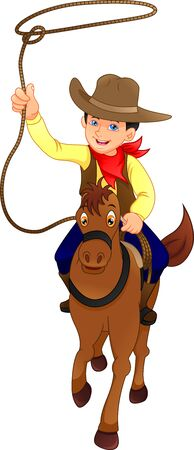 cute cowboy kid with horse