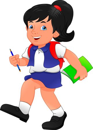 cute school girl holding book and pen