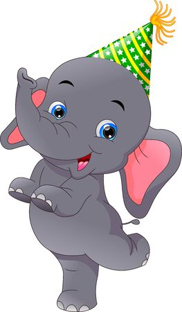 cute elephant cartoon on White Background 向量圖像