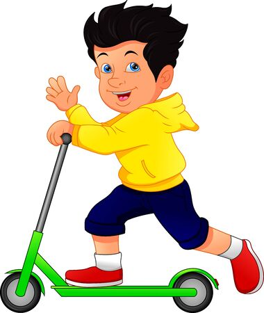 Boy Playing Kick Scooter on White Background