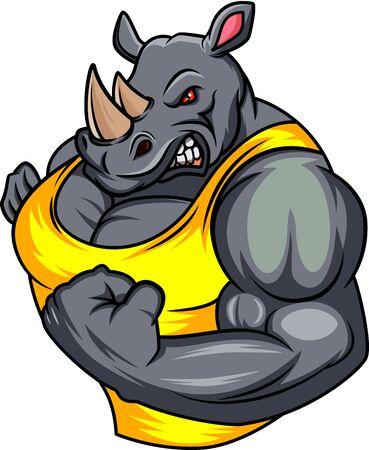 cartone animato di rinoceronte muscolare