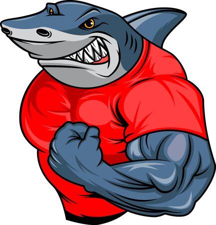 dibujos animados de tiburón muscular