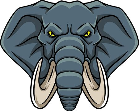 elephant head cartoon  isolated on a white background Illustration