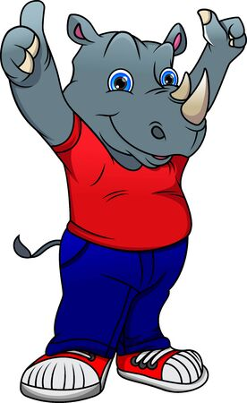 cute rhino cartoon thumb up