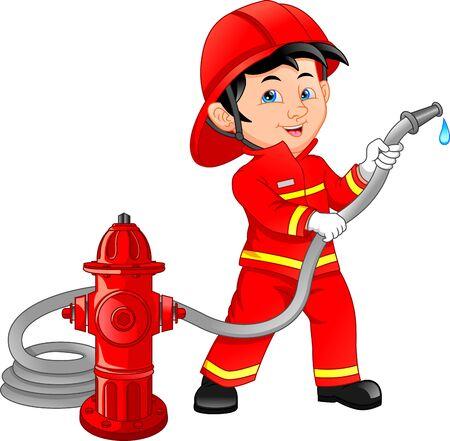 jeune garçon, porter, dessin animé pompier