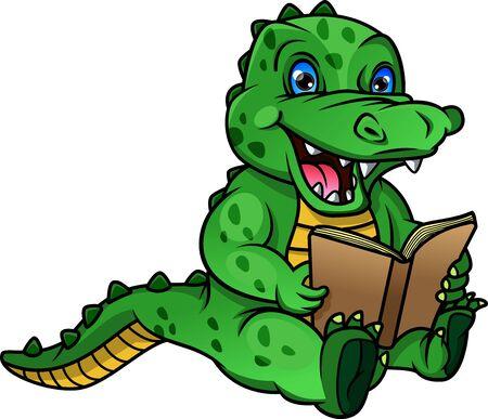 cute crocodile cartoon reading book Vektoros illusztráció