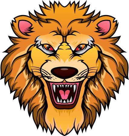 Mascota de cabeza de león aislado sobre un fondo blanco. Ilustración de vector