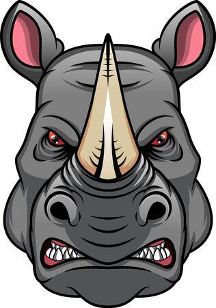 maskotka głowa nosorożca na białym tle Ilustracje wektorowe