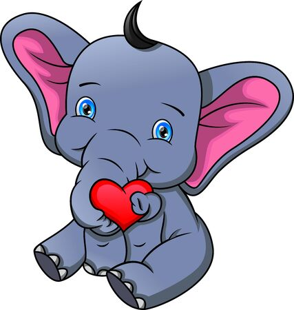 cute elephant cartoon holding love sign
