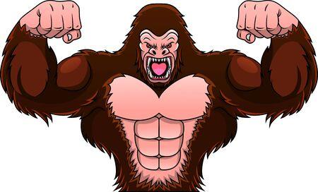 muscle gorilla cartoon Illustration