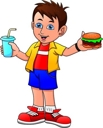 boy smiling holding drink and big hamburger Illustration