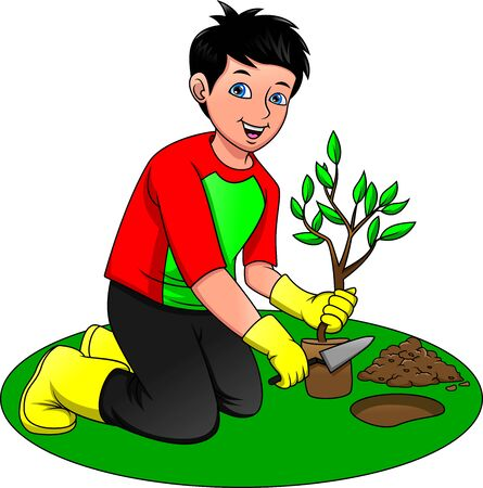 young boy planting trees, Save our green planet