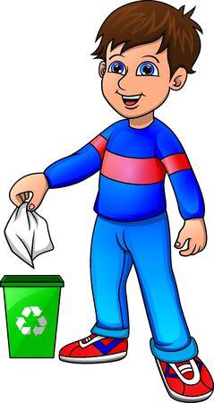 little boy recycling organic waste Vector Illustration