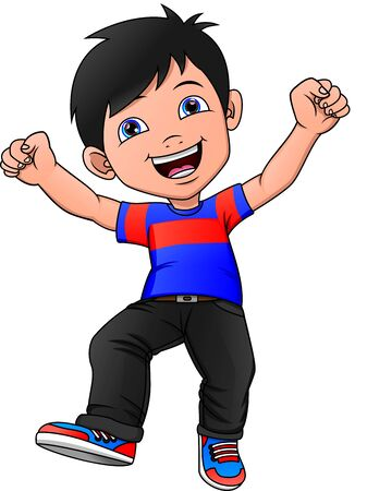 cute Happy boy cartoon on a white background Иллюстрация