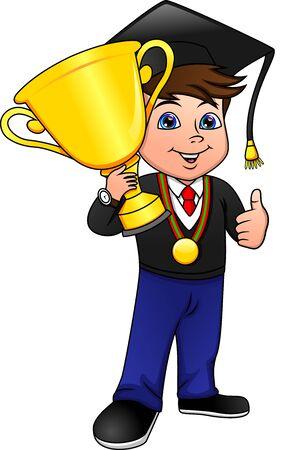 félicitations jeune garçon diplômé détient une coupe d'or gagnante