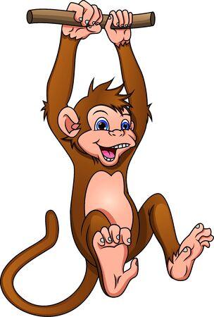 cute monkey cartoon on a white background