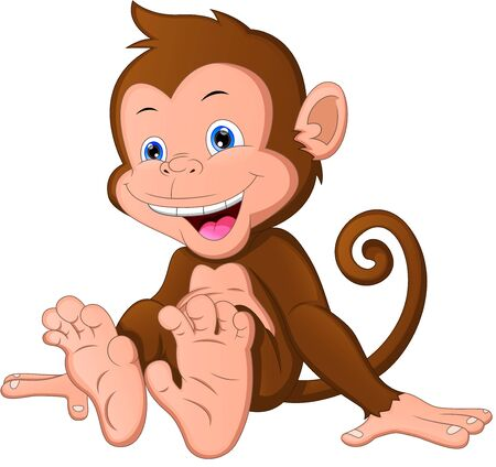 cute baby monkey cartoon on a white background