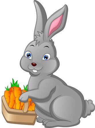 Cartoon happy rabbit with carrot