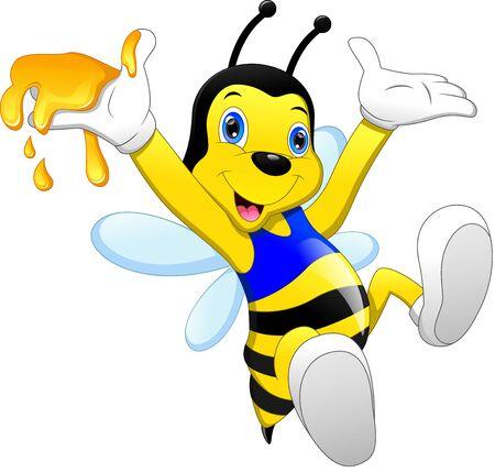 lindo, abeja, caricatura, con, miel