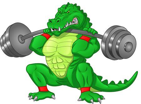 Krokodilkarikatur mit großer Langhantel