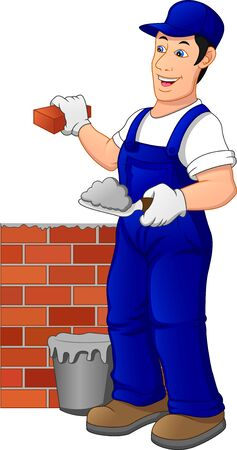 Man building brick wall. Construction worker in a uniform  イラスト・ベクター素材