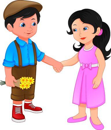 little boy and little girl holding hands Vetores