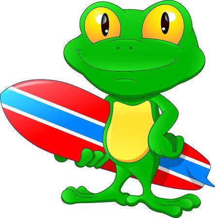 Green frog cartoon holding surfing board