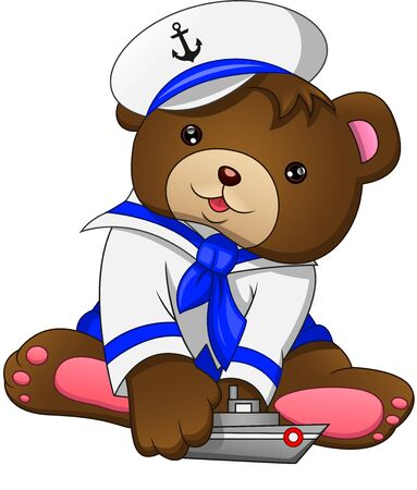 cute bear with ship on a white background