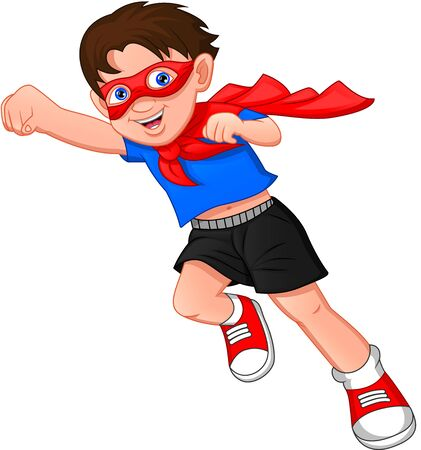 Superheldenjunge posiert auf weißem Hintergrund