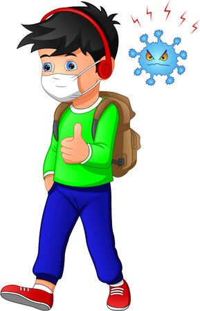 cute Boy cartoon wearing breath mask for virus protect