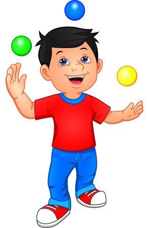 cute boy is juggling with 3 small balls Иллюстрация