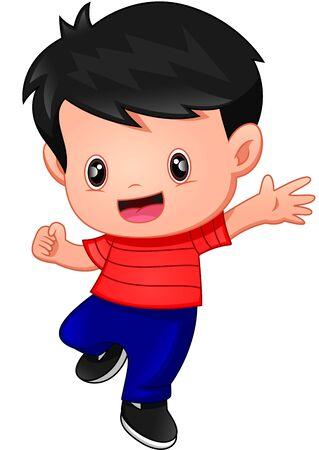cute Happy boy cartoon waving Иллюстрация